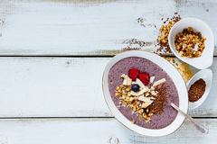 Bowl of berry smoothie royalty free stock photography