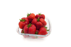 Bowl with big and beautiful strawberries isolated on white backg Royalty Free Stock Photography