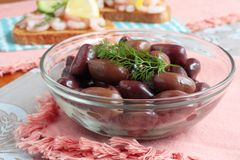 A bowl of black olives Royalty Free Stock Image