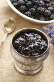 Bowl of blackberry jam Stock Photo