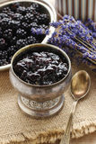Bowl of blackberry jam Royalty Free Stock Photos
