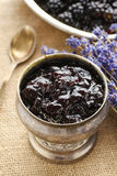 Bowl of blackberry jam Stock Image