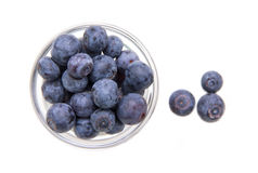 Bowl with blueberries from above Stock Photography