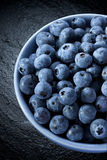 Bowl Of Blueberries. A bowl of fresh blueberries on a dark background royalty free stock photography