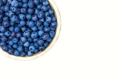 Bowl of blueberries isolated on white Royalty Free Stock Image