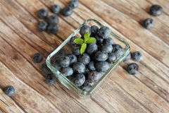 Bowl of blueberries with mint Royalty Free Stock Photo