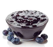 Bowl of blueberry jam Royalty Free Stock Photography