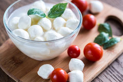 Bowl of Bocconcini mozzarella with fresh cherry tomatoes Stock Images