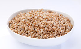 Bowl of boiled buckwheat close-up Royalty Free Stock Image