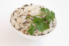 Bowl with boiled rice. White ceramic bowl with boiled rice isolated on white Stock Photos
