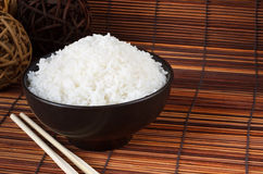 Bowl of boiled rice. A popular accompaniment with oriental food Royalty Free Stock Photos