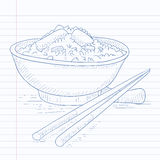 Bowl of boiled rice with chopsticks. Royalty Free Stock Photography