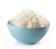 Bowl of boiled rice. On a white background Stock Image