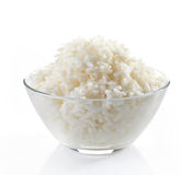 Bowl of boiled rice. On a white background Royalty Free Stock Images