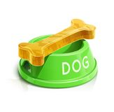 Bowl with bone for dog Royalty Free Stock Images
