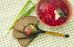 Bowl of the  borsch Royalty Free Stock Image