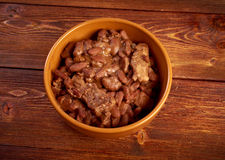 Bowl of boston baked beans Royalty Free Stock Images