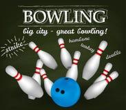 Bowl and bowling pins Stock Image