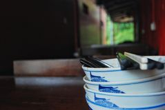 A bowl. S with chopstick at restaurant Stock Photos