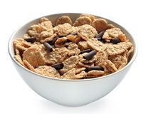 Bowl of bran cereal with chocolate curls Royalty Free Stock Images