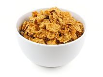 Bowl of bran flake cereal Stock Image