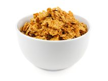 Bowl of bran flake cereal Stock Images