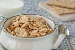 A bowl of bran flakes cereal Stock Image