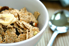 A bowl of bran flakes with raisins Royalty Free Stock Image