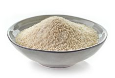 Bowl of breadcrumbs. Isolated on white background Royalty Free Stock Photo