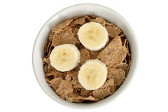 Bowl of Breakfast Bran Flakes Cereals with Banana Stock Image