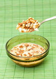 Bowl of breakfast cereal. Against a green background Stock Photography