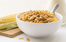 Bowl of Breakfast Cereal with Corn Cob. Royalty Free Stock Photos