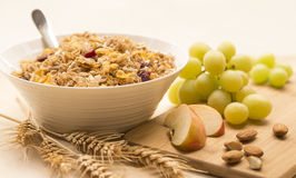 Bowl of Breakfast Cereal, Fresh Fruit and Wheat Stalks. Stock Image