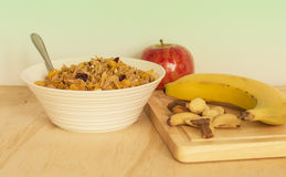 Bowl of Breakfast Cereal with Fruit. Stock Photography