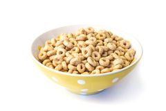Bowl of breakfast cereal loops Royalty Free Stock Image