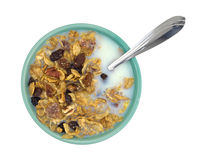 Bowl of breakfast cereal with milk and spoon Stock Photo