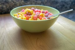 Bowl of breakfast cereal with a spoon.  Stock Photography