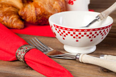 Bowl on breakfast table Stock Images