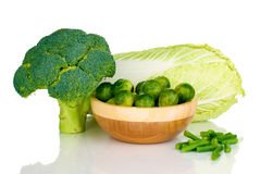 bowl with broccoli and cabbage Stock Image