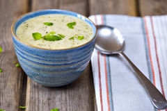 Bowl of broccoli and cheddar cheese soup Royalty Free Stock Photos