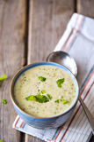 Bowl of broccoli and cheddar cheese soup Royalty Free Stock Photo