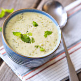 Bowl of broccoli and cheddar cheese soup Royalty Free Stock Photography