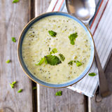 Bowl of broccoli and cheddar cheese soup Stock Photos