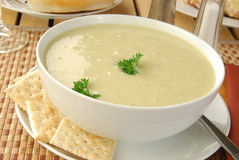 Bowl of broccoli soup Stock Photography