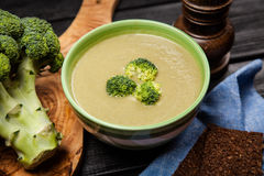 Bowl of broccoli soup Stock Image