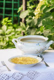 Bowl of broth at summer garden party Royalty Free Stock Photography