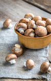 Bowl of brown champignon mushrooms Royalty Free Stock Photography
