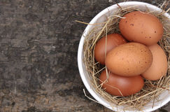 Bowl of Brown Eggs Stock Images