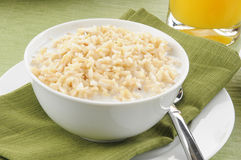 Bowl of brown rice with milk Stock Image