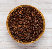 Bowl with Brown Roasted Coffee Beans Royalty Free Stock Image